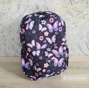 Рюкзак женский\детский (черный, принт бабочки)