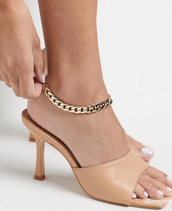 Золотистый браслет на ногу  ASOS DESIGN, длина 24 см