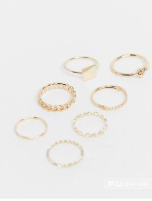 Набор из 7 золотистых колец ASOS DESIGN, S/M (16 mm-17 mm)