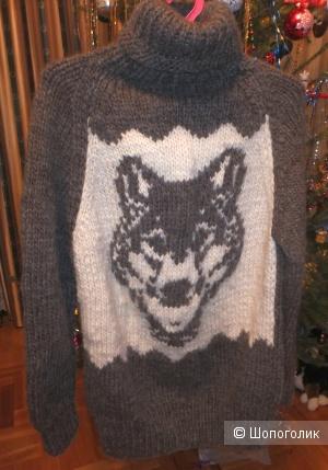 "Свитер ""Wolf"" шерстяной с орнаментом one size"