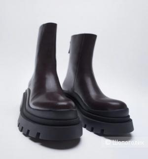 Ботинки, ботильоны кожаные от Zara, р.37-37,5