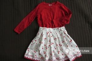 Сет из двух вещей - лонгслив Zara и юбка H&M  размер 6-7 лет, 116-122 см