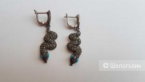 Серебряные серьги с марказитами и бирюзой