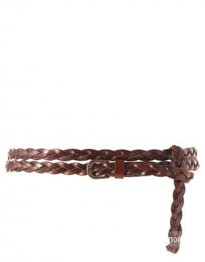 ASOS Leather Double Wrap Plaited Hip Belt, S