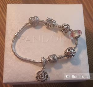 Браслет Pandora из серебра, 18 см