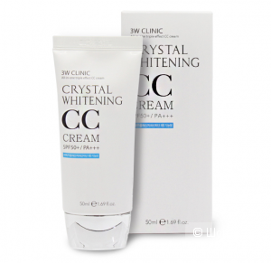 Осветляющий CC крем 3W Clinic Crystal Whitening CC Cream SPF50 PA+++