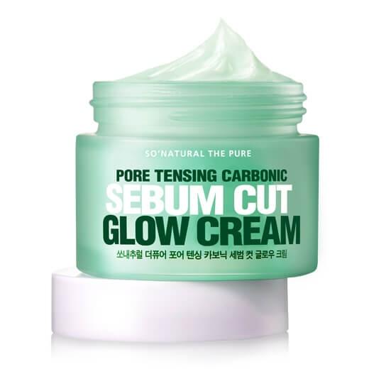 Увлажняющий крем для сужения пор So'Natural Pore Tensing Carbonic Sebum Cut Glow Cream