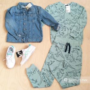 Комплект на рост 122-128 джинсовая куртка Koton и костюм H&M
