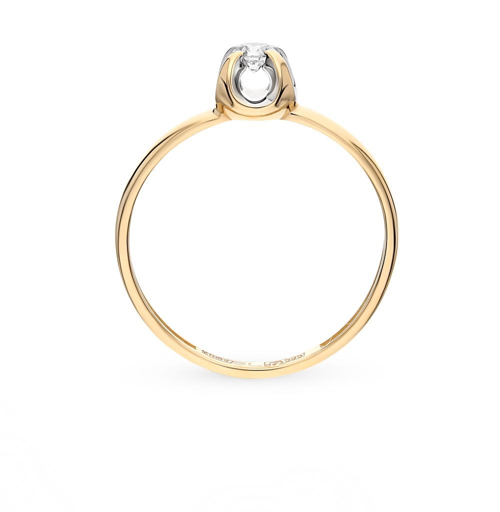 Кольцо из желтого (лимонного) золота 585 с бриллиантом 0,110 ct (18 р-р)