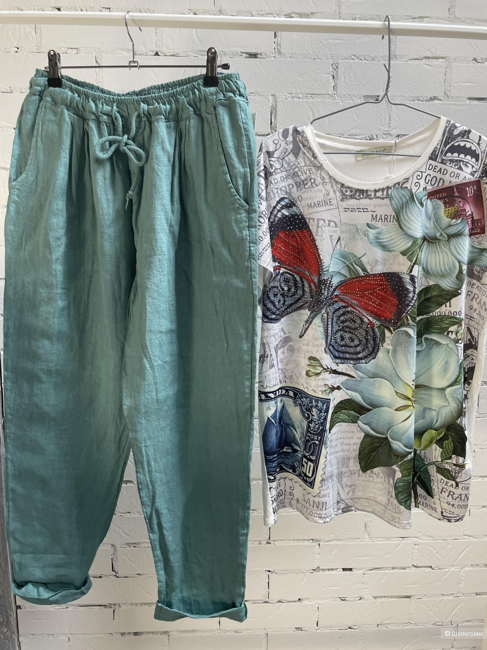 Костюм брюки и футболка PURE LINO ITALY LAMER, 44-54