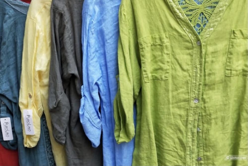 Рубашка накидка ажур  PURE LINO, oversize