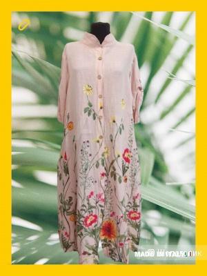Платье рубашка лен PRATO FIORITO, 50-56