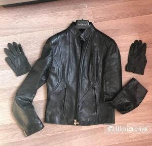 Сет куртка кожаная Motivi,44 рус,перчатки No Name,one size
