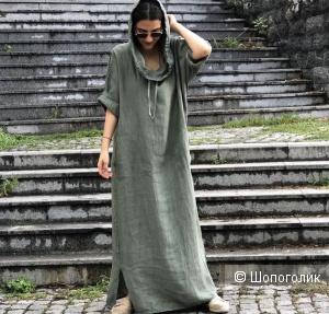Платье худи maxi PURE LINO boho, oversize