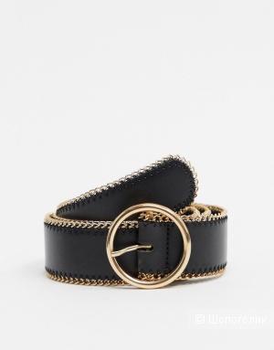 Черный ремень под джинсы с круглой пряжкой ASOS DESIGN, размер S