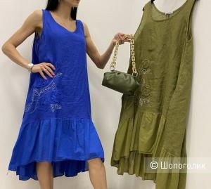 Платье сарафан лен LINO FLOWERS, 42-50