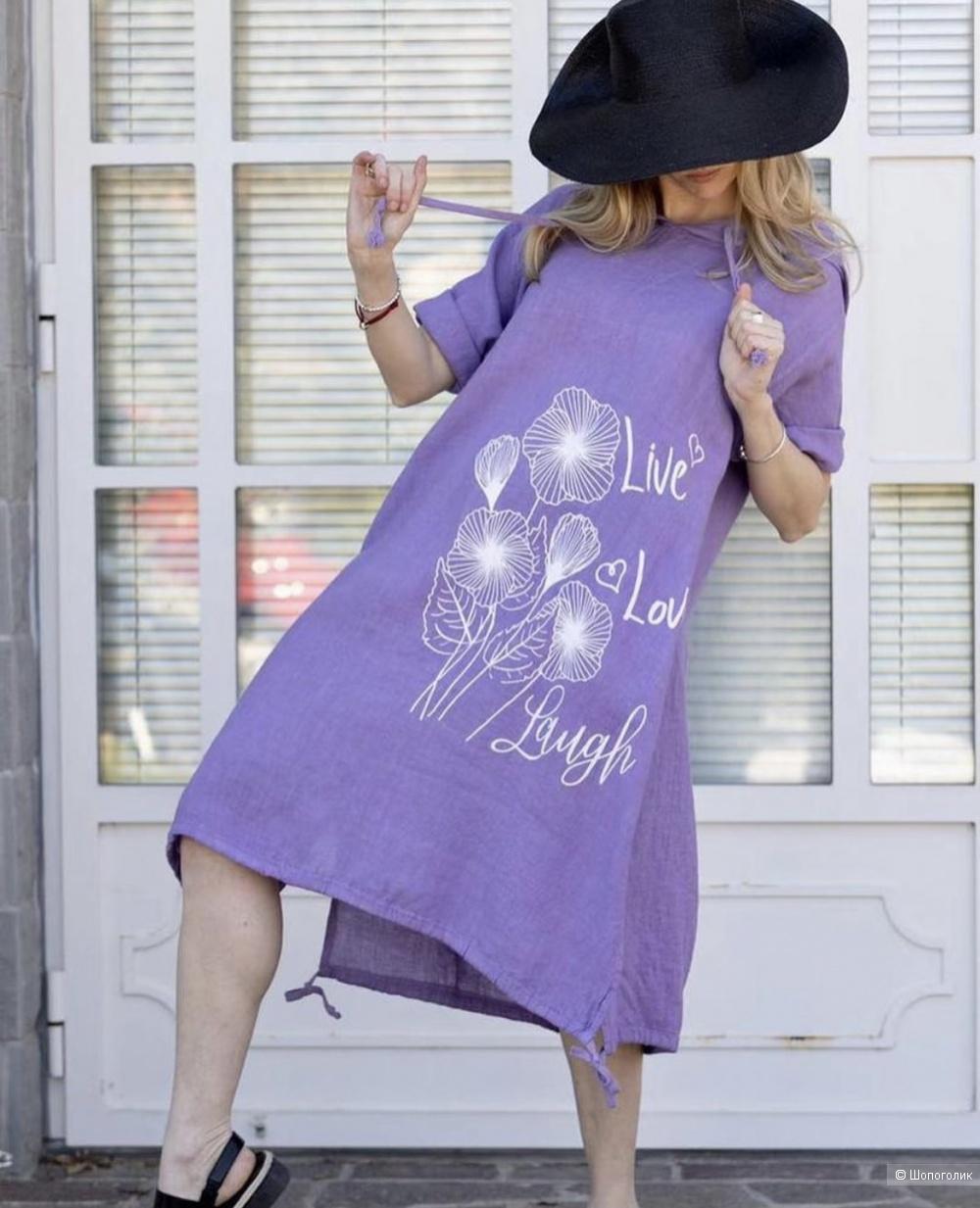 Платье лен с капюшоном STELLA MILANI, 42-50