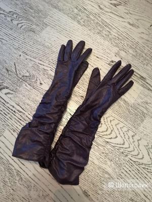 Кожаные лаковые перчатки, размер 7