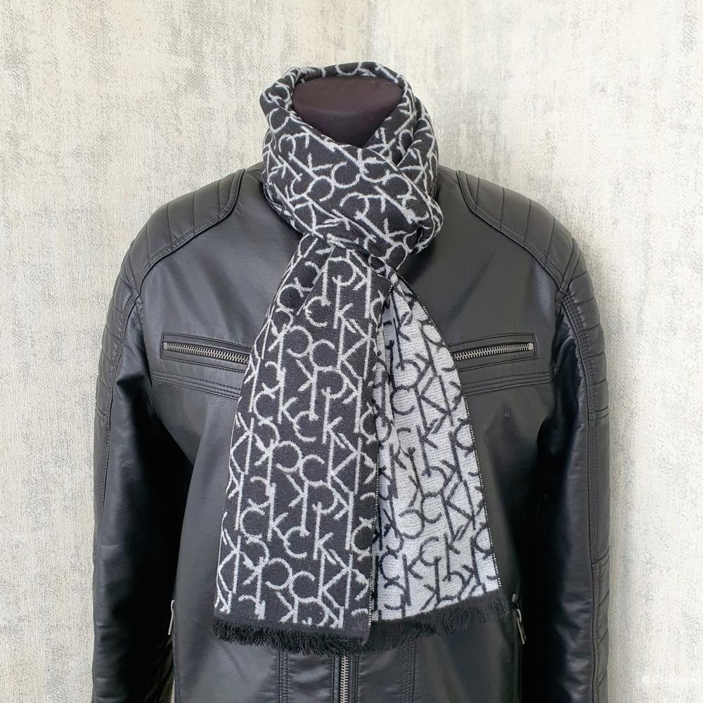 Мужской шарф Calvin Klein кашемир черно-серый