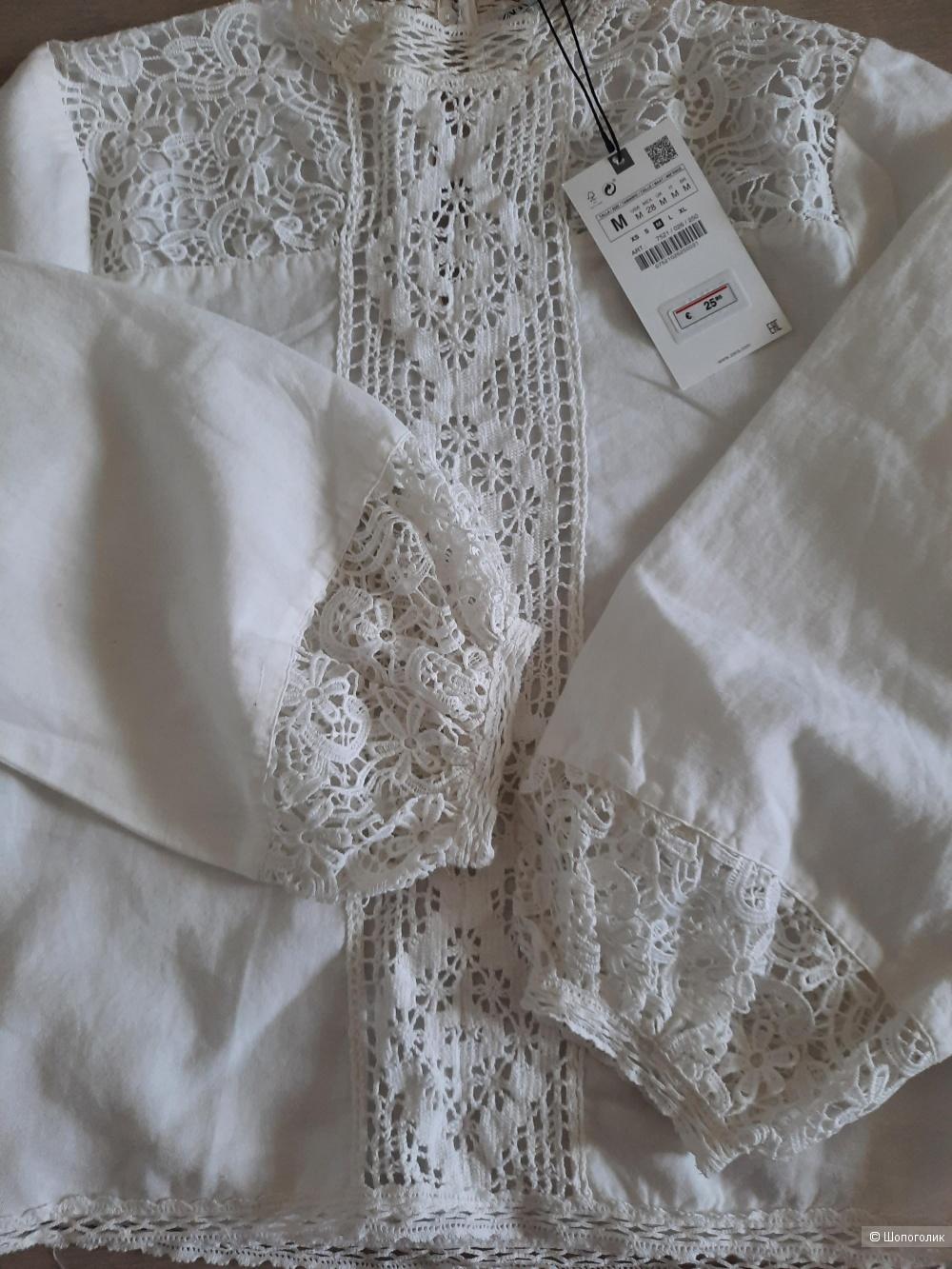 Блузка с кружевом Zara, размер M, с биркой