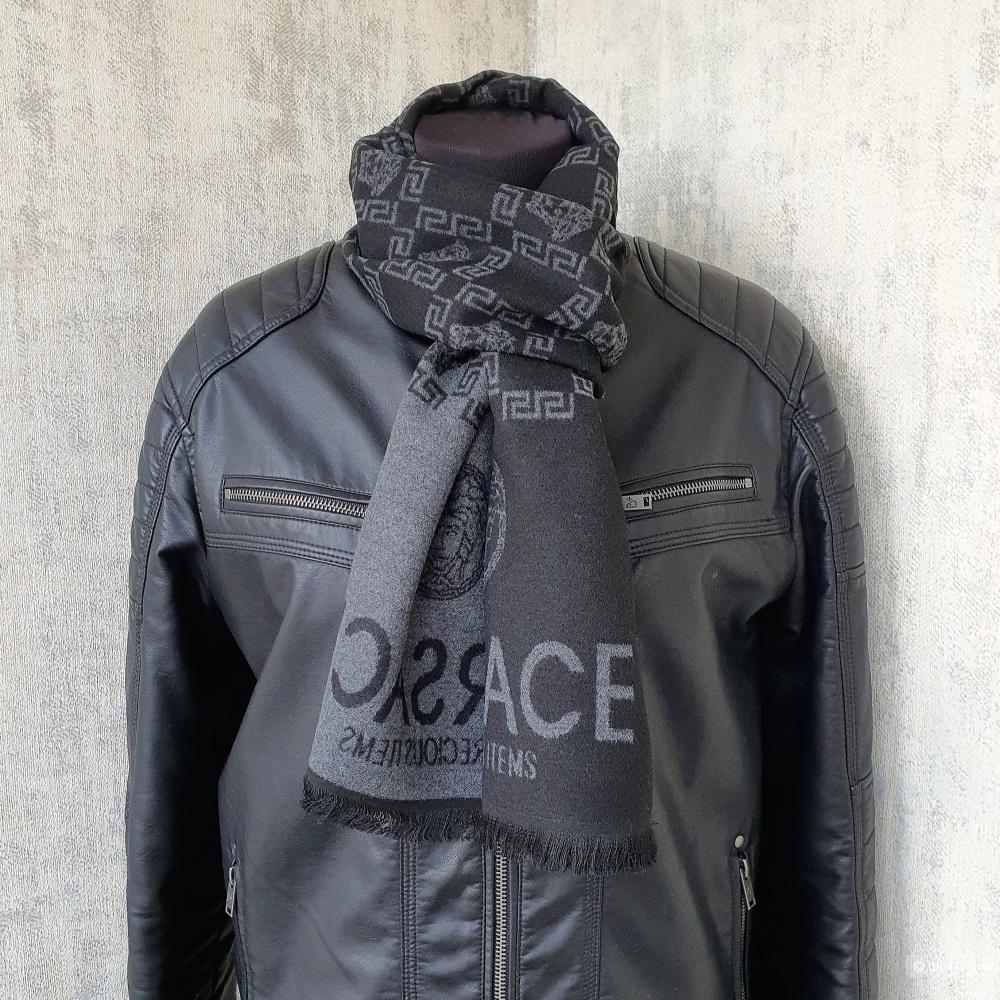 Мужской шарф Versace кашемир черный