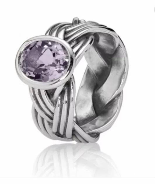 Кольцо Pandora с аметистом размер 17