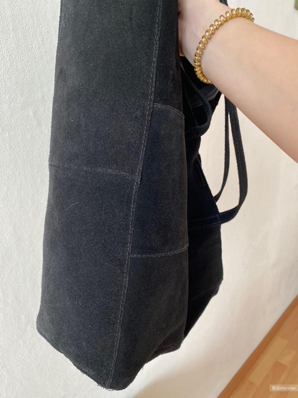 Замшевая сумка-шопер MANGO