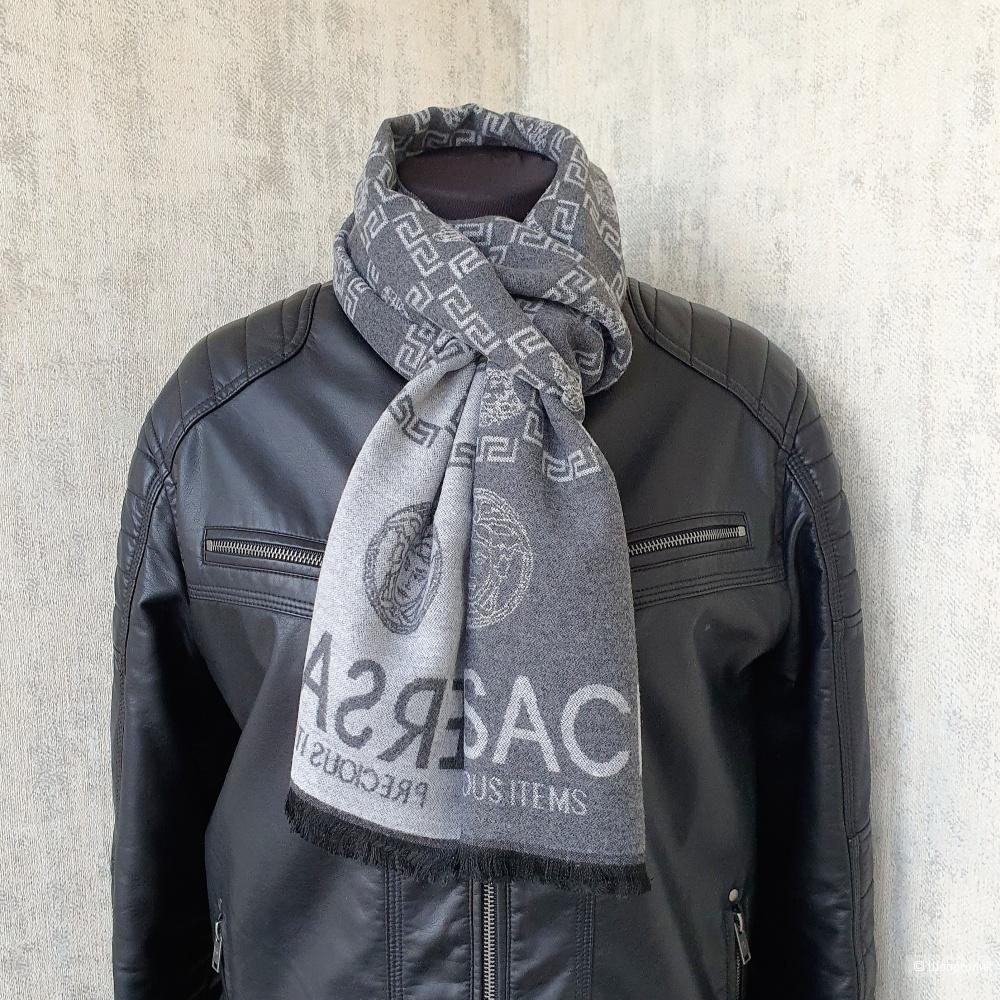 Мужской шарф Versace кашемир серый