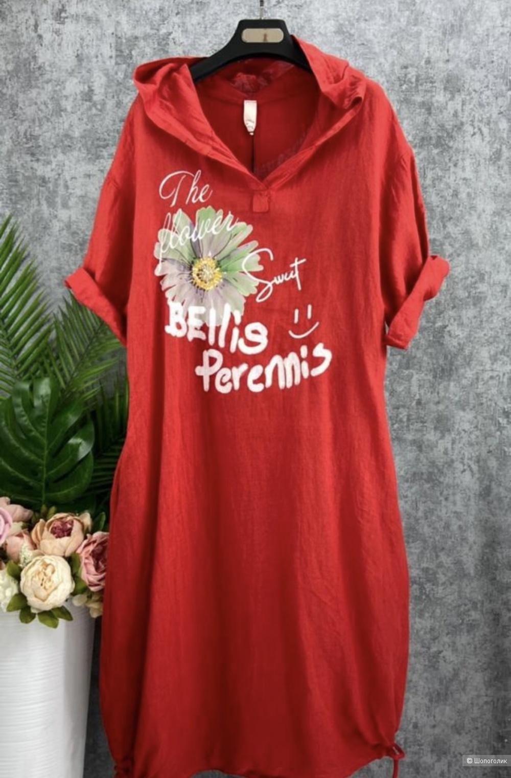 Платье худи лен Bellis Perennis, oversize