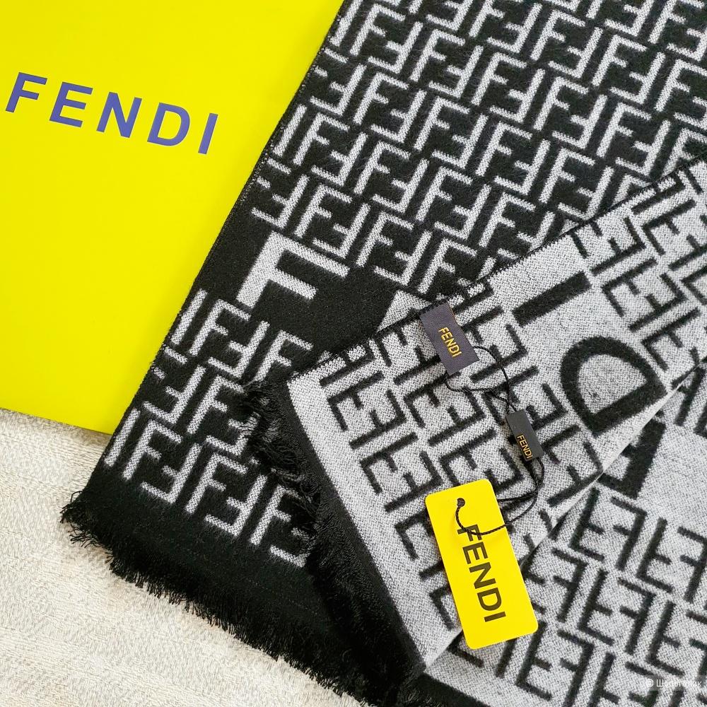 Мужской шарф Fendi кашемир новый черно-серый