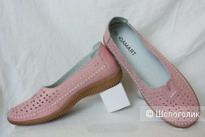 Туфли мокасины лоферы Damart кожаные на широкую стопу, 36-37 Ru