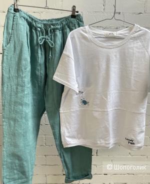Комплект брюки Pure lino и футболка Fish, 44-52