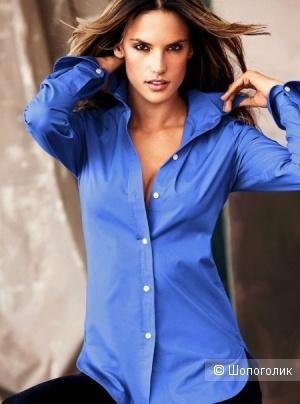 Синяя блузка-рубашка. Размер 46-48