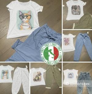 Комплект летний сет брюки И футболка LOVE ITALY,42-52