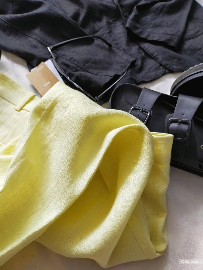 Льняные брюки Мango размер 40 цвет лимонный