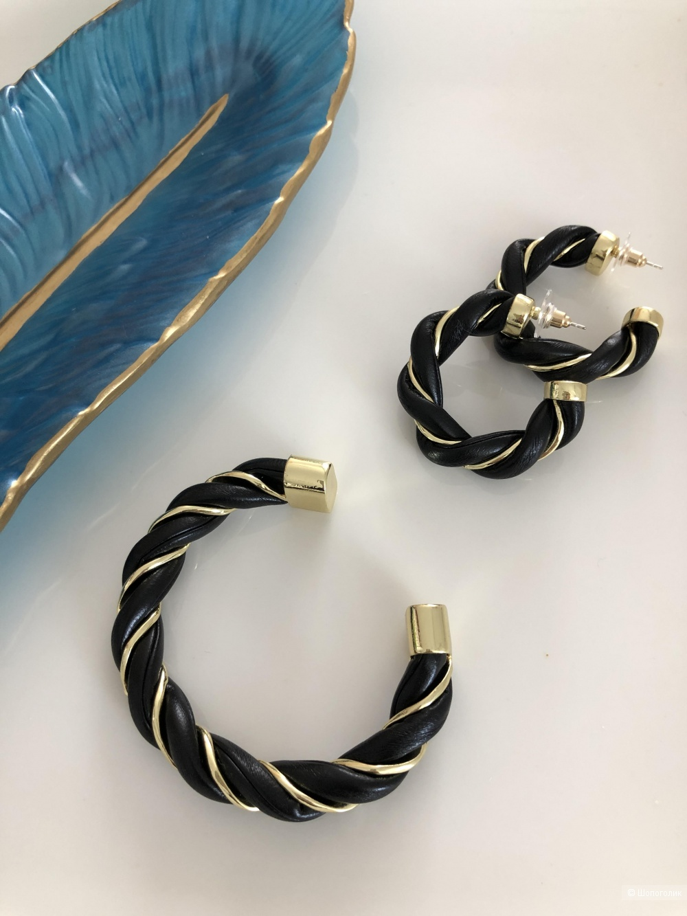 Витой набор браслет +серьги