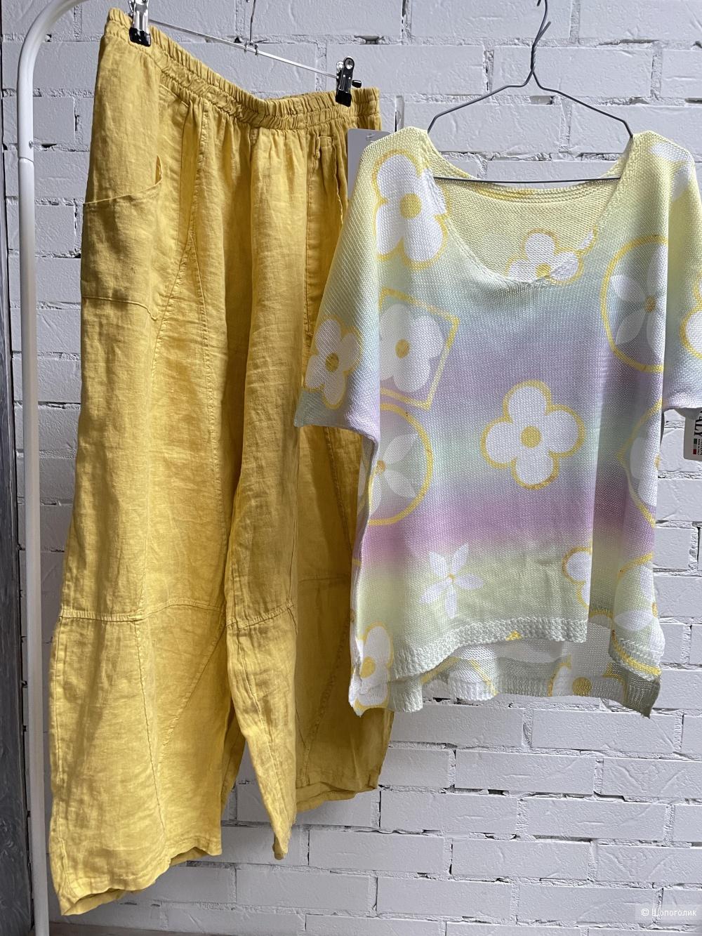 Комплект SUMMER брюки pure lino и джемпер Italia,46-54