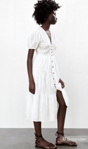 Платье с шитьём ZARA M