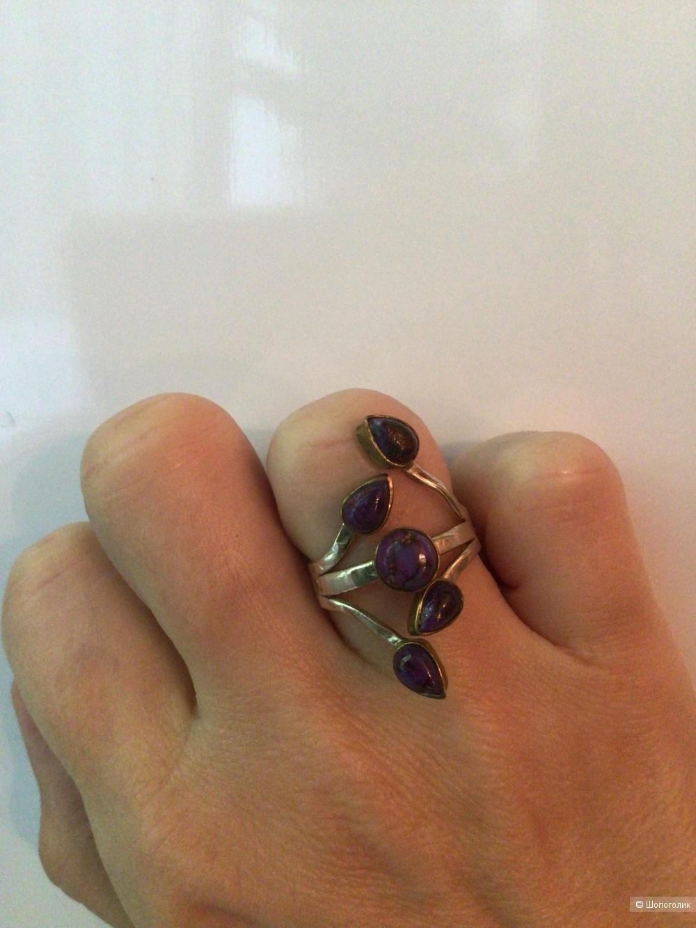 Серебряное кольцо с натуральной бирюзой, размер 17,75