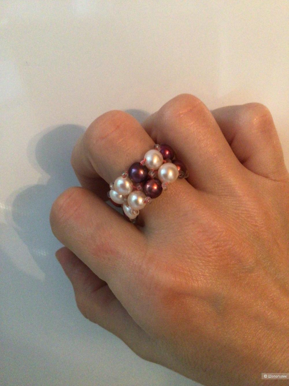 Кольцо с натуральным жемчугом, размер 17,5-19