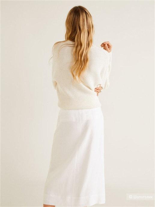 Льняная юбка миди манго,размер S