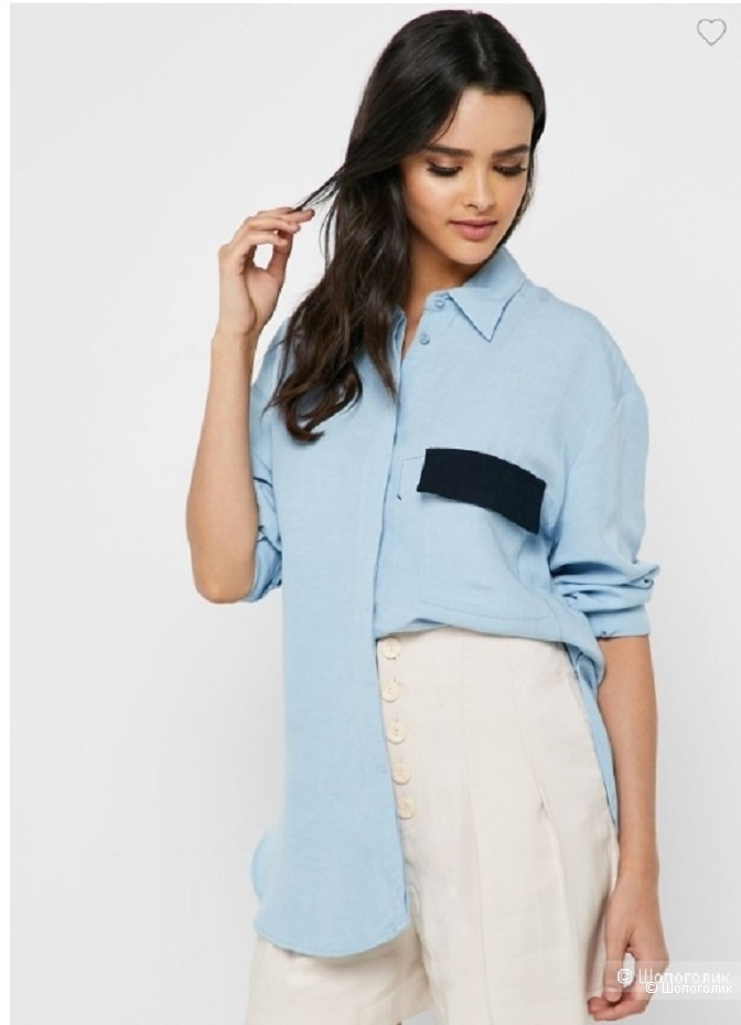 Льняная рубашка манго, оверсайз M/L+
