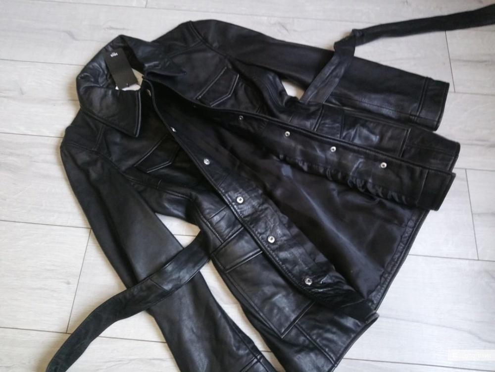 Куртка-сафари из натуральной кожи mango, размер S( s/м)