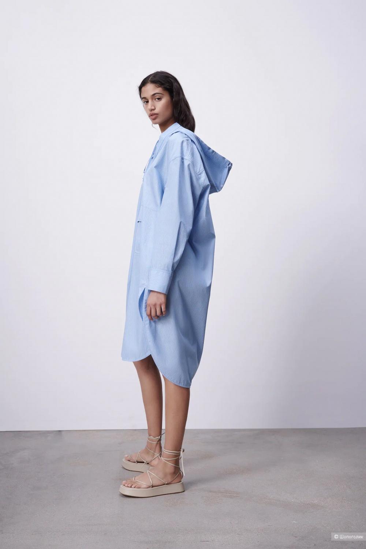 Платье в полоску с капюшоном ZARA, оверсайз M, L