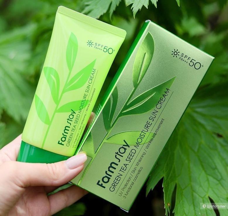 Солнцезащитный крем с зелёным чаем FarmStay Green Tea Seed Moisture Sun Cream SPF50/PA+++
