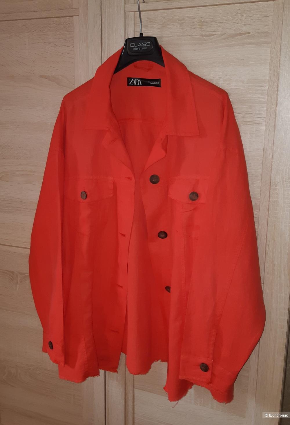 Льняная куртка-рубашка zara, размер l