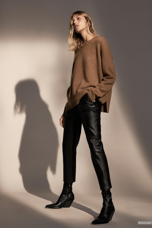 Кожаные брюки ZARA, размер росс 50