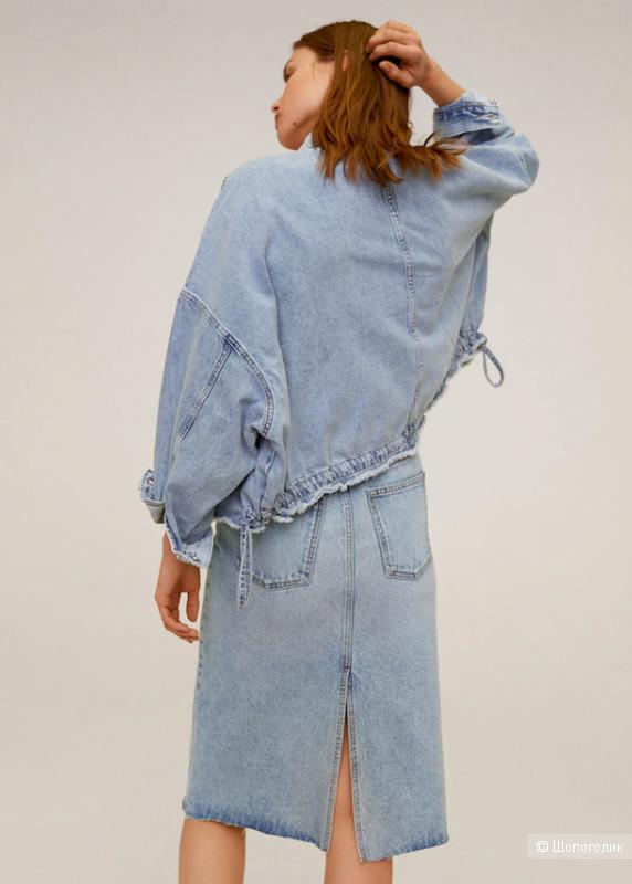 Джинсовая юбка миди манго, размер М