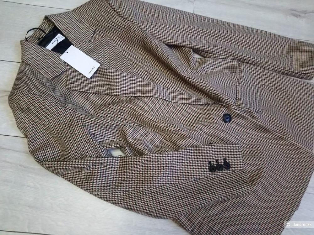 Двубортный удлиненный пиджак в клетку, mango, размер S/M