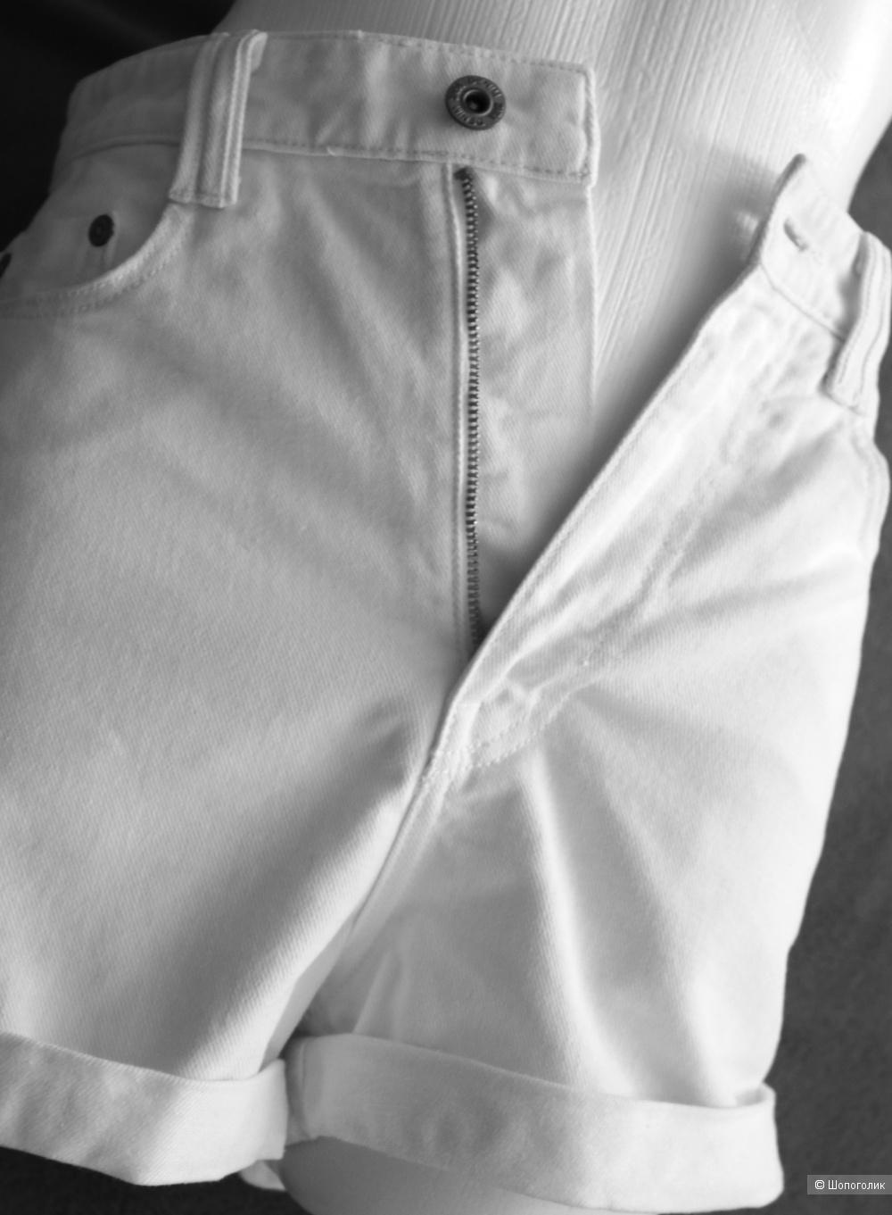 Джинсовые шорты белые Zara размер 42-44